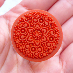 Decorative Round Stamp with Filigree Pattern | Rubber Stamp with Lace Doily Pattern | Wedding Supplies | Zakka Craft Shop | Card Making | Papercraft | Scrapbooking | Stationery
