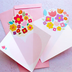 Flower Card & Envelope Set | Wedding Party Supplies | Valentine's Day Card | Die Cut Cards | Greeting Cards | Invitation Card | Thank You Card (Set of 2 / Red & Pink)