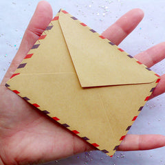 "Small Airmail Envelopes | Mini Kraft Paper Envelopes | Poste Italiane Envelope in Antique Style | Vintage Triangle Flap Envelopes | Zakka Stationery | Party Supplies (10pcs / 9.8cm x 7.5cm / 3.86"" x 2.95"")"