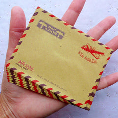 "Mini Airmail Envelopes | Kraft Paper Envelopes | Via Aerea Airplane Envelope in Vintage Style | Small Triangle Flap Envelopes | Greeting Card Making | Party Invitation Supplies (10pcs / 9.8cm x 7.5cm / 3.86"" x 2.95"")"