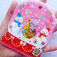 Iridescent Christmas Stickers | Assorted Mini Seal Flakes | Christmas Card Making | Holiday Scrapbook | Party Decoration (11 Designs / 71 Pieces / Snowman Candy Jar Candy Stick Snow Globe Snowflakes Christmas Stocking)