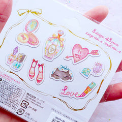 Princess Beauty Stickers with Gold Foil | Pastel Girl Sticker | Kawaii Planner Stickers | Perfume Nail Polish Lipstick Cosmetic Make Up Diamond Animal Mask High Heel Stickers | Sweet 16 Scrapbook | Translucent PVC Stickers (8 Designs / 48 Pieces)