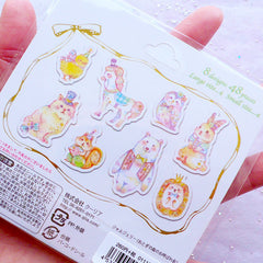 Pastel Animal Stickers with Gold Foil | Pastel Kei Planner Stickers | Kawaii Diary Deco Stickers | Horse Bear Rabbit Bunny Squirrel Hedgehod Owl Kitty Cat Chick Stickers | PVC Translucent Stickers (8 Designs / 48 Pieces)