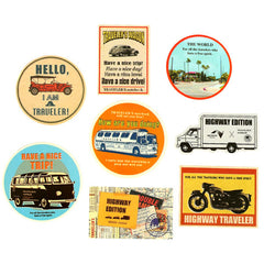 Vintage Travel Stickers (Highway Edition) by Nexco Central & Traveler's Notebook | Antique Vehicle Car Stickers | Scrapbooking Supplies | Planner Decoration | Journal Sticker | Luggage Stickers | Collage Art (8 Pieces)
