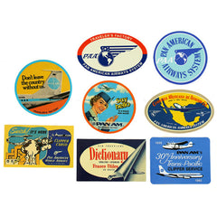 Pan Am Stickers by Traveler's Factory | Pan American World Airways Stickers in Vintage Style | Antique Advertisement Sticker | Travel Journel Sticker | Diary Deco Stickers | Luggage Stickers (8 Pieces)