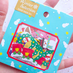 Colorful Christmas Snowman Sticker Flakes | Christmas Scrapbook | Holiday Card Making | Seal Stickers | Christmas Gift Packaging | Santa Claus Stocking Wreath (10 Designs / 70 Pieces)