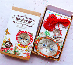 Uncle Cat Vintage Deco Pack Box Set | Animal Label Stickers in Antique Style | Kitty Head Gift Tags | Kitten Mini Cards | Kawaii Korean Stationery | Packaging Supplies (100pcs)
