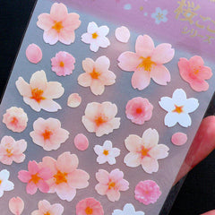 Japanese Sakura Stickers | Cherry Blossom Stickers by Mind Wave | Floral Seal Stickers | Flower Scrapbook | Card Decoration | Diary Deco Sticker Supplies