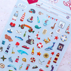 Nautical Stickers | Navy Style Stickers by Daisyland | Mini Marine Life Stickers | Kikki K Planner Stickers | Erin Condren Planner Supplies | Sea Life Embellishments | Diary Stickers | Scrapbook | Paper Goods