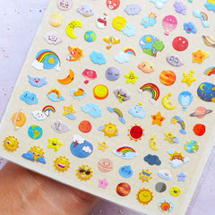 Cartoon Weather Icon Stickers by Daisyland | Mini Planner Stickers | Erin Condren Stickers | Kikki K Life Planner Supplies | Filofax Deco Stickers | Diary Journal Decoration | Sunny Rainbow Moon Cloudy Thunderstorm