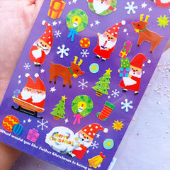 Christmas Sticker from Japan | Santa Claus Stickers | Christmas Tree Reindeer Stickers | Christmas Seal Label | Card Making | Gift Decoration | Party Supplies