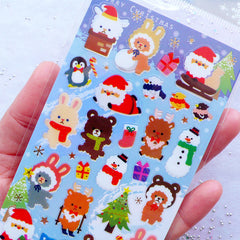 Kawaii Christmas Stickers from Japan | Christmas Animal Party Stickers | Santa Claus Reindeer Christmas Tree Snowman Stickers | PVC Seal Labels | Sticker for Christmas Resin Cabochon DIY