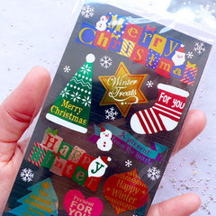 Metallic Christmas Greeting Stickers from Japan | Christmas Seal Stickers | Gift Packaging Supplies | Christmas Card Deco Sticker | Message Labels | Present Decoration
