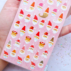 Santa Claus Head Stickers | Christmas Card Decoration | Winter Holiday Sticker by Mind Wave | Planner Deco Sticker | Erin Condren Stickers | Kikki K Stickers | Filofax Stickers | Japanese Stationery Supplies