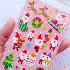 Christmas PVC Stickers | Santa Claus Label | Christmas Seal Stickers | Christmas Gift Decoration | December Planner Stickers | Christmas Holiday Deco Sticker | Packaging Supplies | Christmas Emebllishments