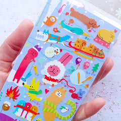 Kawaii Animal in Christmas Sticker | Winter Scrapbook | Holiday Embellishment | Life Planner Stickers | Colorful Stickers from Japan | Erin Condren Decoration | Winter Collection Sticker by Mind Wave