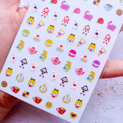 Alice in Wonderland Mini Stickers | Afternoon Tea Cheshire Cat White Rabbit The Playing Cards | Tiny Kawaii Planner Sticker from Korea | One Point Seal | Fairytale Embellishments