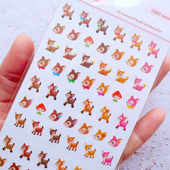 Bambi Stickers | Roe Deer Stickers | Sika Deer Sticker | Tiny Animal Label | Kawaii Mini Sticker | Life Planner Decoration | Fairytale Sticker | Diary Sticker | Journal Deco Sticker | One Point Seal | Korean Sticker Supplies
