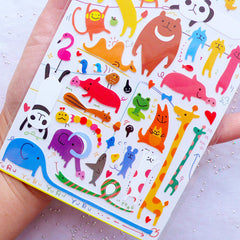 Zoo Animal Stickers by Mind Wave | Kawaii Animal Label | Japanese Stationery Supplies | Erin Condren Stickers | Filoxfax Stickers | Kikki K Stickers | Scrapbook | Card Embellishments | Planner Deco Sticker | Home Decor