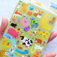 Farm Animal Stickers by Mind Wave | Animal Seal Labels | Kawaii Planner Stickers | Filoxfax Stickers | Erin Condren Stickers | Kikki K Stickers | Alpaca Cow Pig Sheep Horse Chicken Duck Stickers