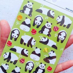 Panda Stickers by Mind Wave | Giant Panda Bear Sticker | Animal Seal Label | Planner Sticker | Kawaii Packaging Supplies | Erin Condren Stickers | Kikki K Stickers | Card Making | Scrapbooking Embellishments