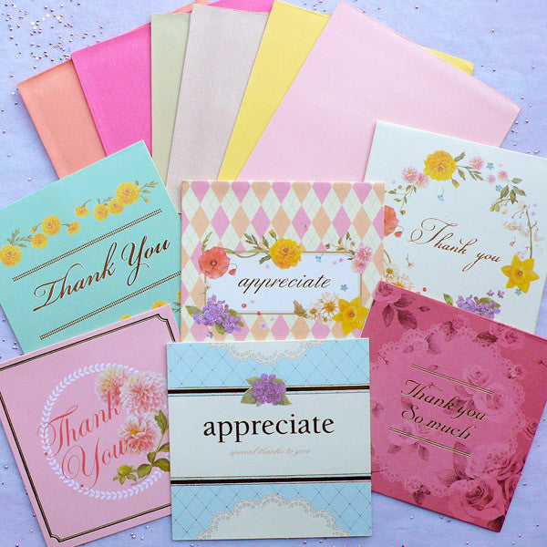 Thank You Card & Envelope Set in Floral Pattern | Flower Greeting Cards | Korean Stationery | Wedding Party Supplies (Set of 6)