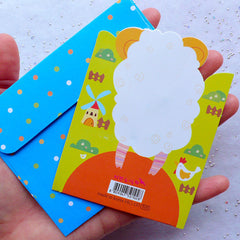 Farm Animal Card & Envelope Set (Sheep) | For You Greeting Card | Korean Stationery | Baby Shower Party Supplies
