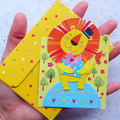 Cute Animal Card & Envelope Set (Lion) | Congratulations Greeting Card | Stationery from Korea | Baby Shower Party Decoration