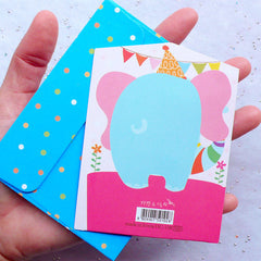 Kawaii Animal Card & Envelope Set (Elephant) | Happy Birthday Greeting Card | Cute Stationery from Korea | Birthday Party Decoration