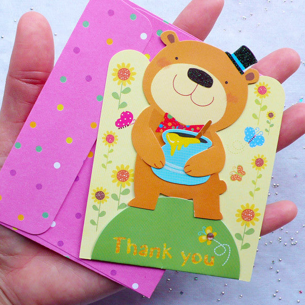 Animal Card & Envelope Set (Bear) | Thank You Greeting Card | Baby Shower Supplies | Kawaii Stationery from Korea