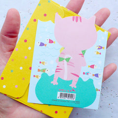 Kawaii Card and Envelope Set (Cat & Fish) | Especially For You Animal Greeting Card | Baby Shower Supplies | Cute Stationery from Korea