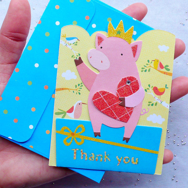 Cute Card and Envelope Set (Pig) | Thank You Card | Animal Greeting Card | Baby Shower Decor | Kawaii Korean Stationery