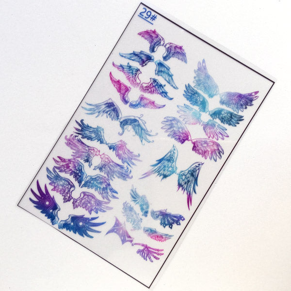 Magical Devil Wing Clear Film for UV Resin Crafts | Angel Wing Embellishments in Galaxy Color | Mahou Kei Resin Fillers