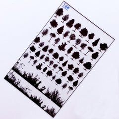 Silhouette of Forest Tree Clear Film | UV Resin Filling Materials | Nature Embellishments | Resin Art Supplies