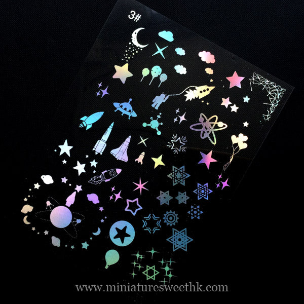 Space Themed Holographic Clear Film for Resin Craft | Spacecraft Rocket Ship Star Embellishments | Kawaii UV Resin Fillers