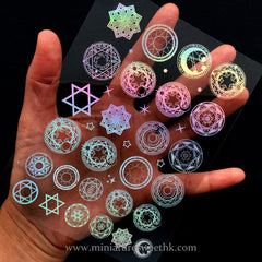 Holographic Magic Circle Clear Film for UV Resin Art | Kawaii Mahou Kei Sacred Geometry Embellishments | Magical Filling Materials