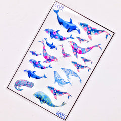 Whale and Dolphin Clear Film Sheet in Floral Pattern | Marine Life Embellishments | UV Resin Filling Materials | Resin Art Supplies