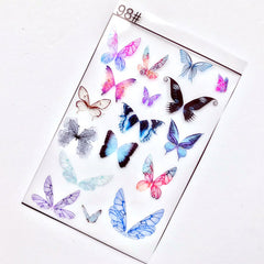 Colored Butterfly Clear Film Sheet for UV Resin Craft | Filling Materials for Resin Jewellery Making