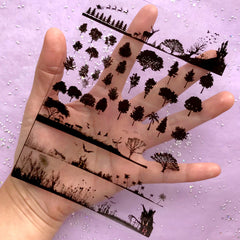 Forest Silhouette Clear Film | Tree Clear Sheet | Christmas & Halloween Embellishments for UV Resin Art | Resin Inclusions