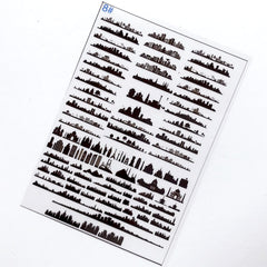 City Silhouette Clear Film Sheet | Building Embellishments for Resin Art | Resin Inclusions | Resin Fillers
