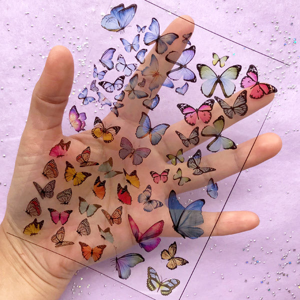 Colorful Butterfly Clear Film Sheet | UV Resin Fillers | Spring Nature Embellishments | Resin Jewelry Supplies