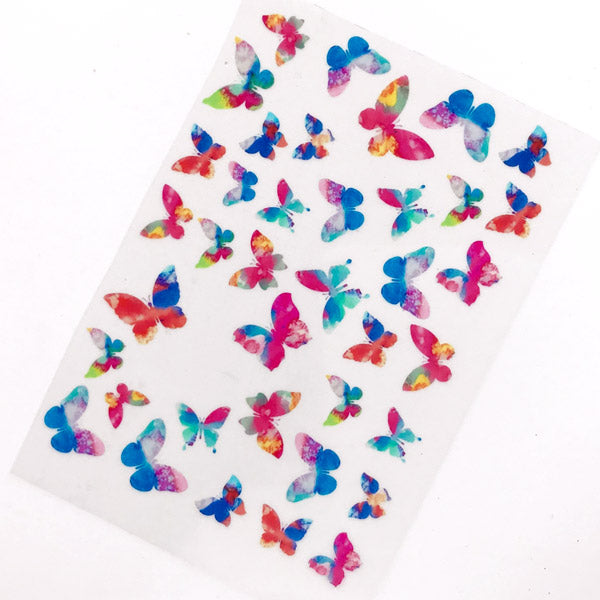 Butterfly Clear Film Sheet in Dreamy Watercolor Style | Kawaii Resin Inclusions | Nature Insect Embellishments | UV Resin Supplies