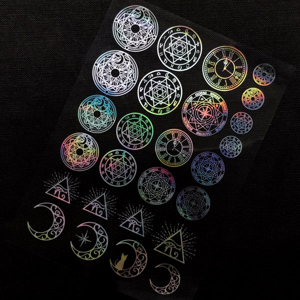Holographic Magical Girl Clear Film Sheet | Magic Circles Eye of Horus Triangle Moon | Mahou Kei Resin Inclusion