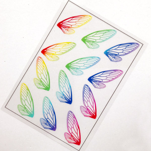 Butterfly Wing Clear Film Sheet in Rainbow Gradient Color | UV Resin Fillers | Insect Embellishments | Resin Jewelry Supplies