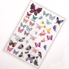 Bohemian Butterfly Clear Film Sheet | Filling Material for UV Resin | Colorful Insect Nature Embellishments | Resin Craft Supplies