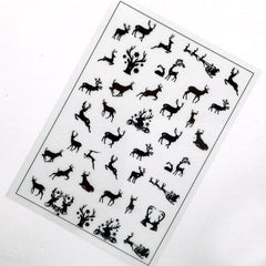 Reindeer Clear Film Sheet for UV Resin | Christmas Resin Inclusions | Animal Silhouette Embellishments | Kawaii Jewelry Supplies