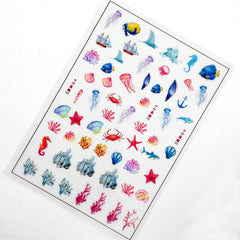 Nautical Clear Film Sheet | Filling Material for UV Resin | Marine Life Coral Reef Seashell Embellishments