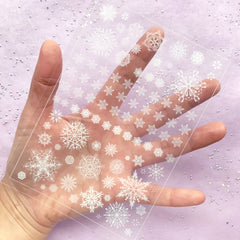 Snowflake Clear Film Sheet in White Color | Winter Embellishment | Christmas Resin Jewellery Supplies | Filling Material