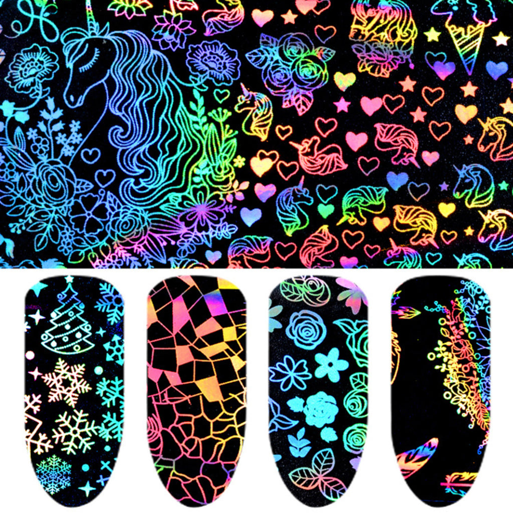 Holo Nail Transfer Foil | Holographic Decal for Kawaii Resin Crafts | Unicorn Dreamcatcher Christmas Flower (8 Sheets)