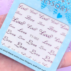Love Word Sticker (Purple Pink) | UV Resin Fillers | Resin Inclusions | Embellishments for Resin Craft | Nail Design